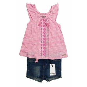 Hudson Jeans Pink Smock Top & Blue Denim Shorts
